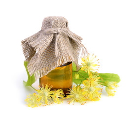Linden flowers with pharmaceutical bottle