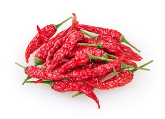 Dry red cayenne peppers isolated on white with clipping path