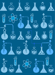 Test tubes and chemical symbols on a blue background