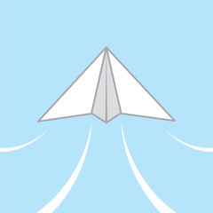 Paper airplane gliding through the air