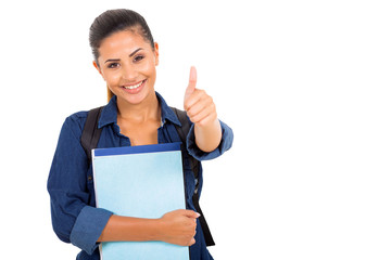 female college student giving thumbs up