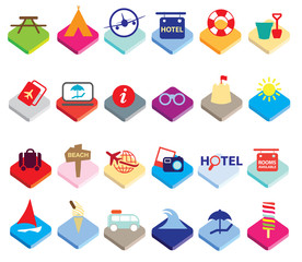 Flat colourful holiday, vacation or beach icons
