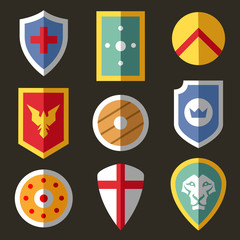 Shield flat icons for game