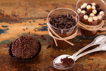 Brazilian chocolate bonbon truffle brigadeiro in glass