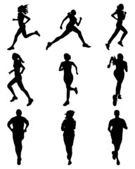 Black silhouettes  of running, vector