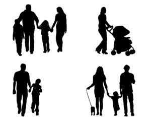 Black silhouettes of family in  walks, vector