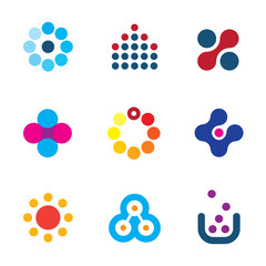 Connecting innovation new dots technology research logo icons