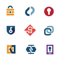 Internet secure lock security system technology logo icons
