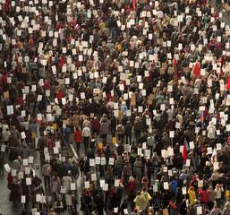 crowd of people demonstrate