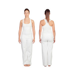 Front and back of a relaxed woman