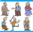 seniors people set cartoon illustration