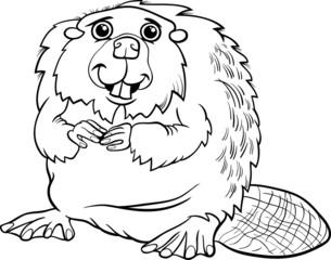 beaver animal cartoon coloring page
