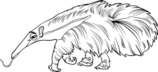 anteater animal cartoon coloring book
