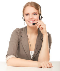 Close-up portrait of a customer service agent, isolated on white