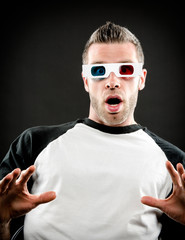 Surprised with 3d glasses