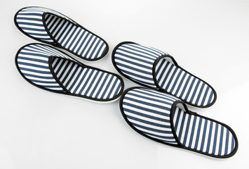 Striped slippers isolated on white