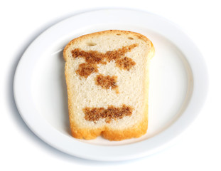 Funny toast, isolated on white