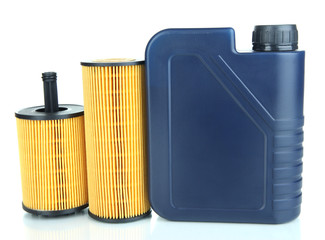 Motor oil canister and filters isolated on white