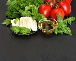 fresh basil, tomatoes, mozzarella and olive oil. caprese salad i
