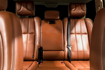 Business car interior. Rear leather seats.