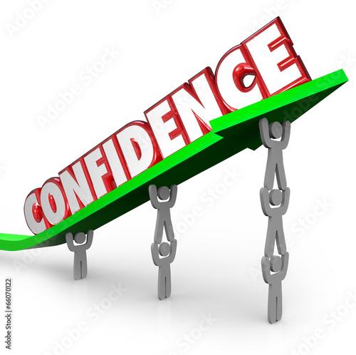 Confidence Word Team Lifting Arrow Believe Yourself