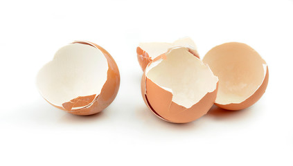 Egg shell crack isolated on white background