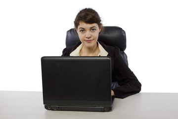 young female using a laptop to surf the internet