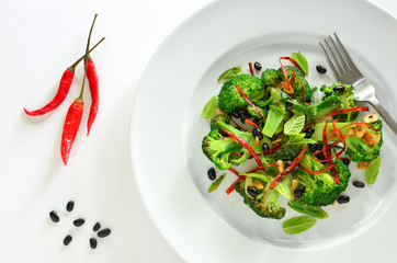 Broccoli stir fry with black beans and thai red peppers