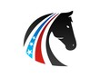 horse logo USA flag symbol emblem