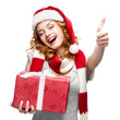happy young woman holding gift on white