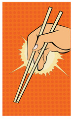 Illustration of a hand with chopsticks in a pop art/comic style