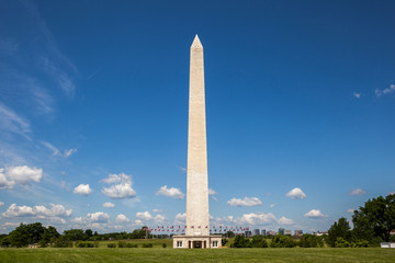 Side view of the Washington monument and the ring of American fl