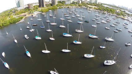 Aerial video sail boats