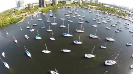 Aerial video sail boats