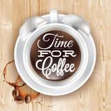 Poster cup kofem alarm clock in loft wood