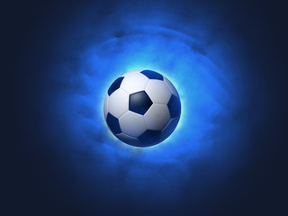 Soccer ball blue background
