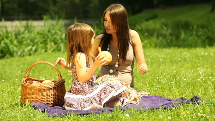 Picnic. Kid and mother eating sandwiches on the meadow