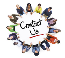 Diverse People in a Circle with Contact Us Concept
