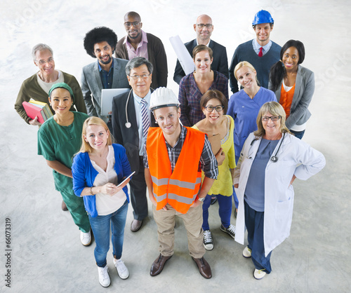 Group of Multiethnic Diverse People with Different Jobs - 66073319