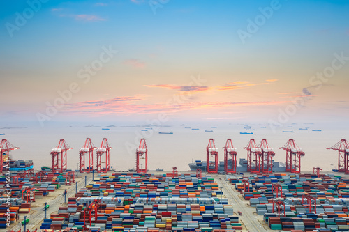 container wharf at dusk Poster