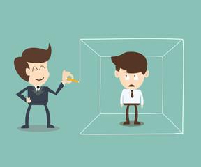 Businessman defined area idea concept