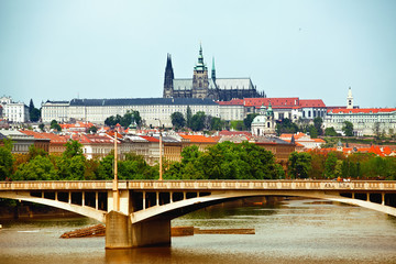 View to Prague castle and bridge