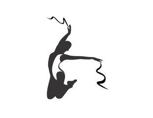 logo silhouette ballet dancer symbol,icon