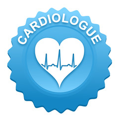 cardiologue sur bouton web denté bleu
