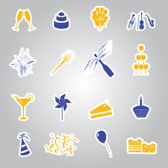 celebration and party stickers set eps10