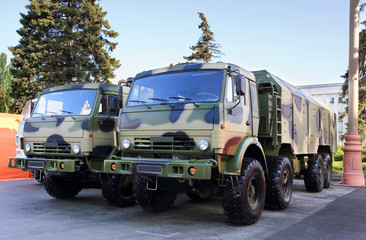 Two military vehicles