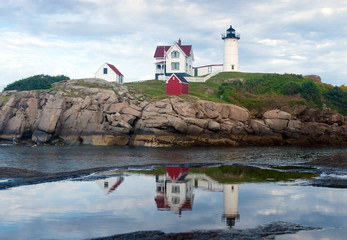 York, Maine - Nubble Light House reflecting in puddle