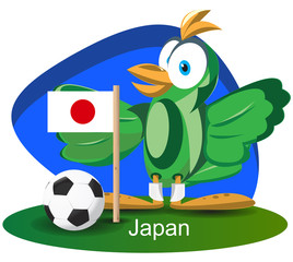 World cup mascot 2014 with Japan team flag
