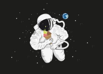Astronaut mit Eistüte