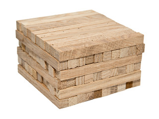 A pile of wooden blocks isolated on white background without sha